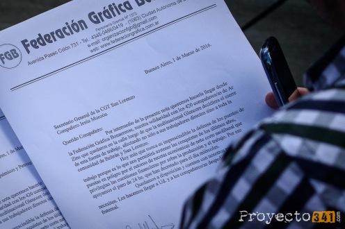 Carta de la Federación Grafica al Secretario General de la CGT San Lorenzo Jesús Monzón en apoyo a las medidas tomadas y en solidaridad por los 420 trabajadores despedidos.