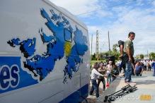 Ex Combatientes de Malvinas participaron del corte en solidaridad con los trabajadores.