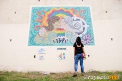 Inauguración del mural por la visibilidad lésbica en la entrada del Puente Arturo Illia. Fotografía: © Lucrecia Ricciardi, proyecto341.com reservados todos los derechos / all rights